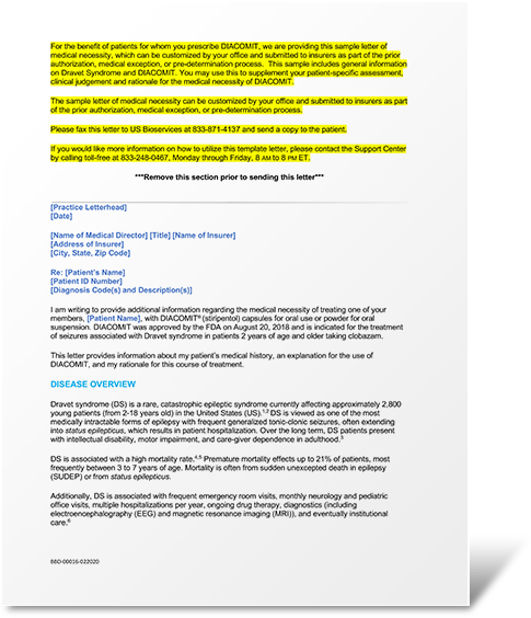 Download a sample letter of medical necessity as part of the process for prior authorization, medical exception, or pre-determination