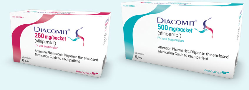 DIACOMIT is available in 250 mg and 500 mg dosages, in 2 convenient dosing forms: capsules and powder for oral suspension (fruit-flavored powder packets to be mixed in water)